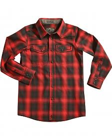 Cody James Boys' Red Sky Plaid Long Sleeve Shirt