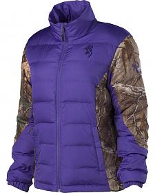 Browning Hell's Belles Plum and Camo Blended Down Jacket