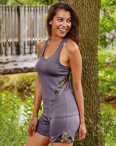 Wilderness Dreams Mossy Oak Break-Up Country Gunmetal Gray Active Fitted Tank