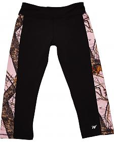 Wilderness Dreams Black and Pink Mossy Oak Break-Up Active Capris