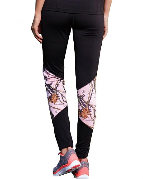 Wilderness Dreams Black and Pink Mossy Oak Break-Up Active Tights