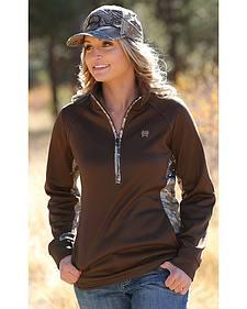 Cinch Women's Camo Brown Poly Tech Half-Zip Fleece