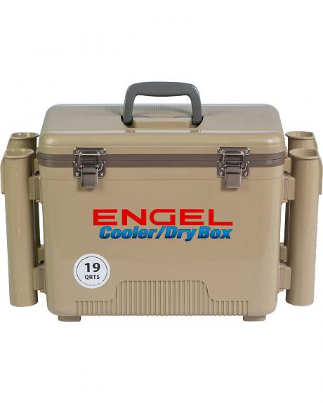 Engel Coolers Tan 19-Quart Dry Box & Rod Holder