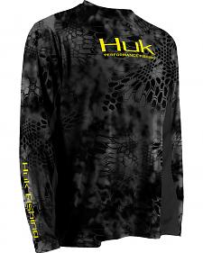 Huk Men's Grey Kryptek ICON Long Sleeve Top
