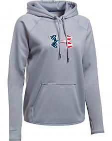 Under Armour Women's Grey Big Flag Logo Tactical Hoodie