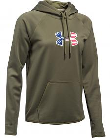 Under Armour Women's Green Big Flag Logo Tactical Hoodie