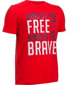 Under Armour Freedom Boy's Red Land of the Free Tactical Shirt