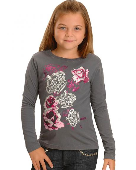 Rock & Roll Cowgirl Girls' Crowns & Roses Grey T-Shirt - 4-14