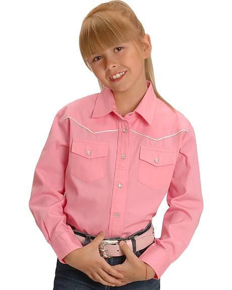 Cumberland Outfitters Girls' Pink Western Shirt - 4-16