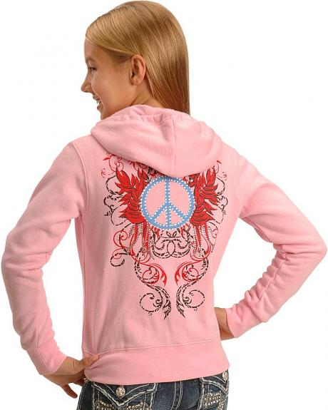 Girls' Pink Embellished Peace Sign Hoodie - 5-16