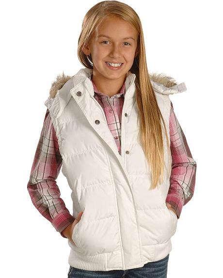 Ely Walker Girls' White Faux Fur Hooded Vest - 6-12