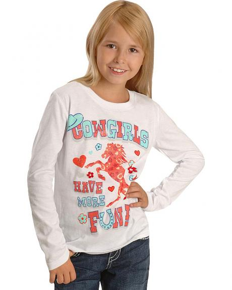 Wrangler Girls' Cowgirls Have More Fun Shirt - 4-10