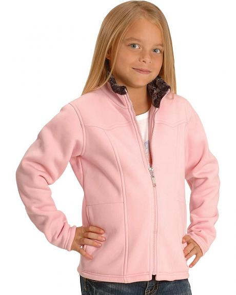 Roper Girls' Pink Fleece Zip Up Jacket - 5-16