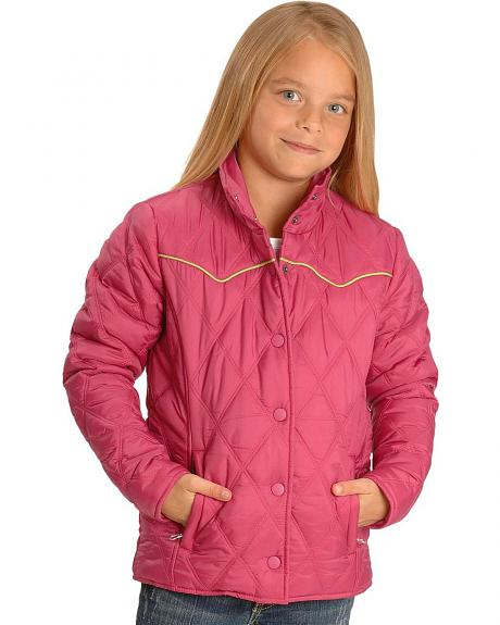 Roper Girls' Pink Diamond Quilt Jacket - 5-16