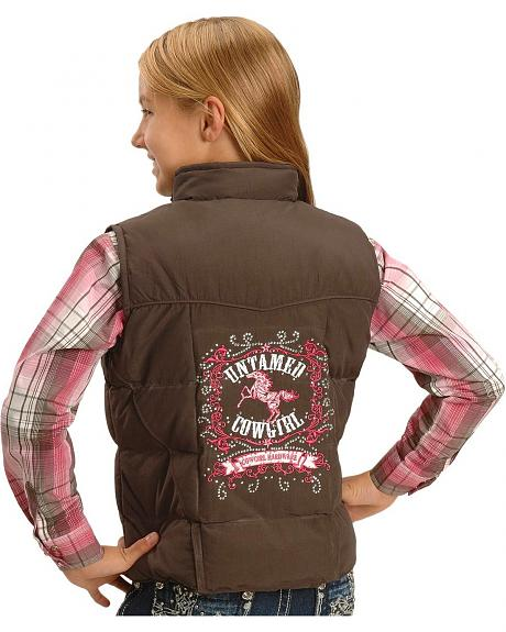 Cowgirl Hardware Girls Untamed Cowgirl Brown Quilted Vest - 5-16