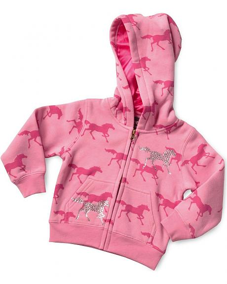 Cowgirl Hardware Toddler Girls' Pink Horse Hoodie - 2T-4T