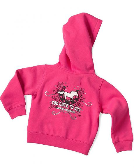 Cowgirl Hardware Toddler Girls' Too Cute To Cry Hoodie - 2T-4T