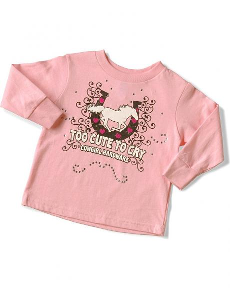 Cowgirl Hardware Toddler Girls' Too Cute to Cry Tee - 2T-4T