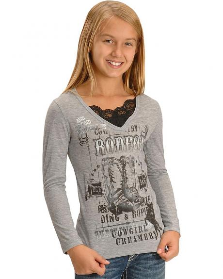 Girls' Lace Collar Rodeo Print Tee - 7-16