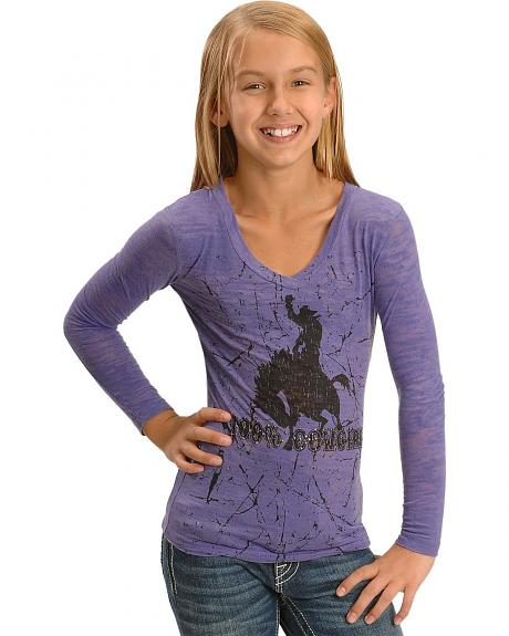 Girls' 100% Cowgirl Burnout Tee - 7-16