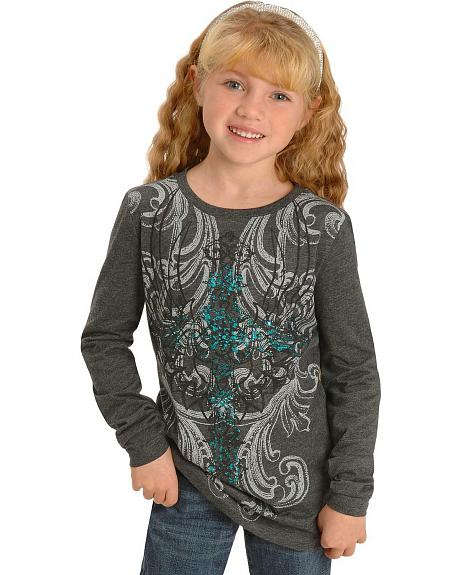 Wrangler Girls' Foil Print Cross Tee - 5-16