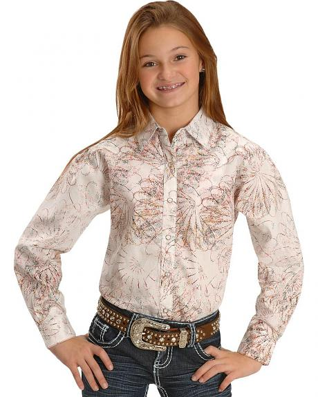 Wrangler Girls' Floral Stitch Western Shirt - 5-16