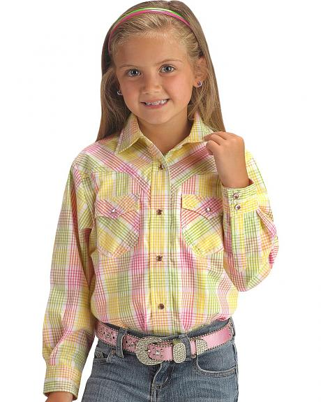 Girls' Colorful Plaid w/ Lurex Western Shirt - 5-16