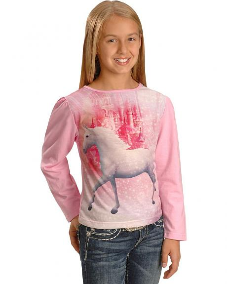 Girls' Horse & Castle Print Top - 4-16