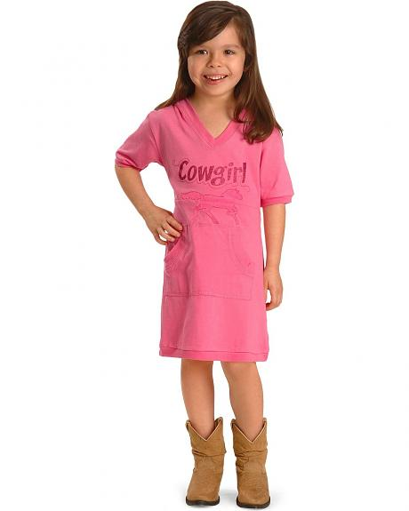 Girls' Embroidered Horse Hoodie Dress - 2T-4T