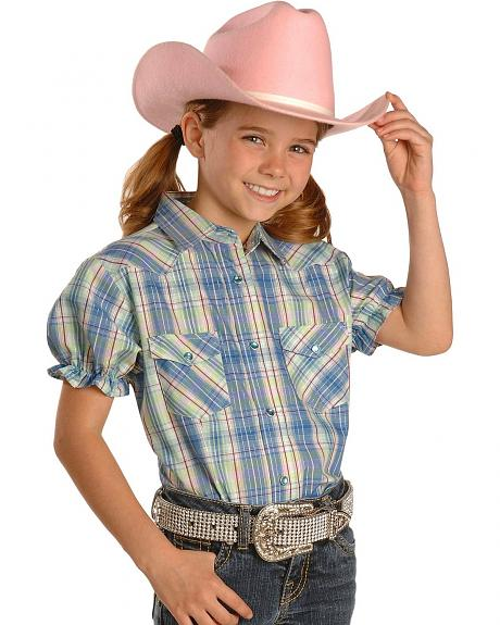 Girls' Plaid Lurex Rhinestone Snap Western Shirt - 5-16