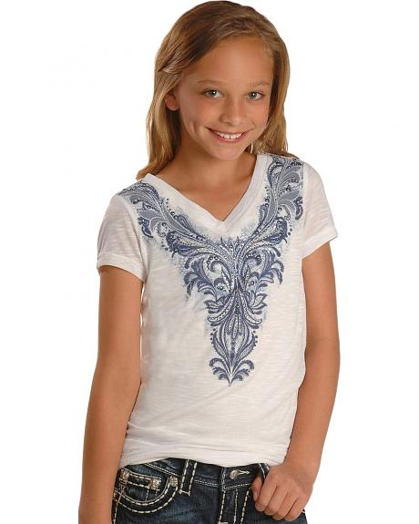 Miss Me Girls' Lace Inlay & Rhinestone Burnout Tee - 5-16