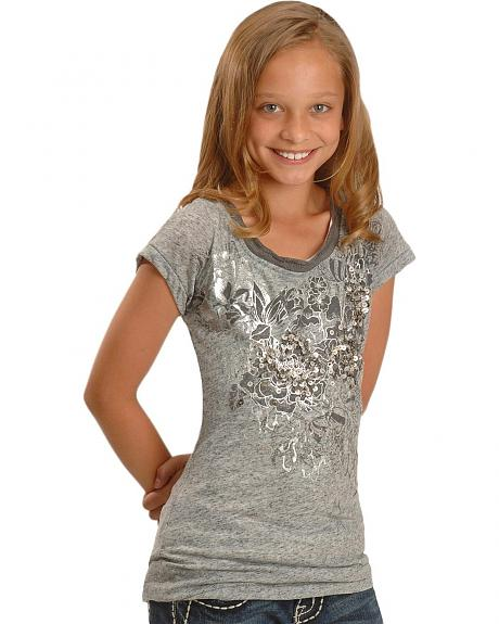 Miss Me Girls' Beads & Sequins Foil Print Tee - 5-16