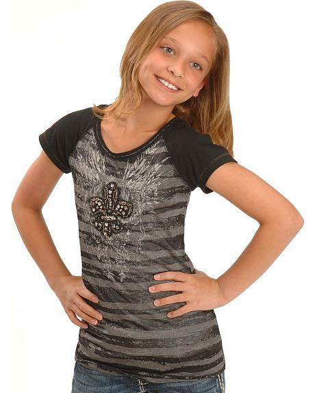 Miss Me Girls' Beaded Cross Striped Tee - 5-16