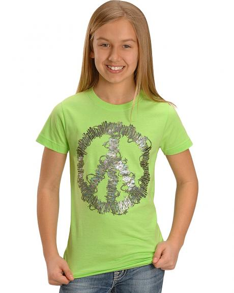 Wrangler Girls' Peace Sign & Barbed Wire Tee - 5-16