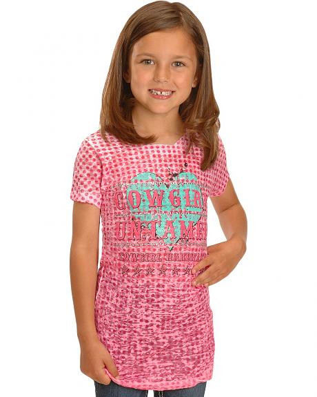 Girls' Cowgirl Untamed Embellished Polka Dot Burnout Tee - 5-16