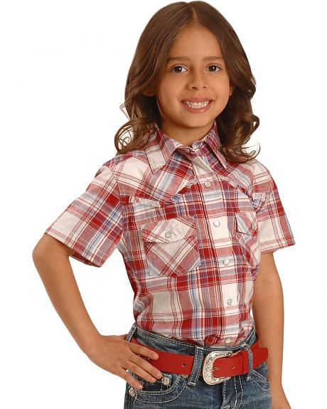 Cumberland Outfitters Girls' Plaid Frayed Yoke Western Shirt - 4-16