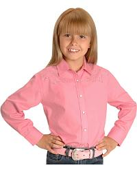 Cumberland Outfitters Girls' Pink Rhinestone Horse Western Shirt - 4-16 at Sheplers