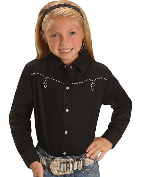 Cumberland Outfitters Girls' Rhinestone Yoke Western Shirt - 4-16