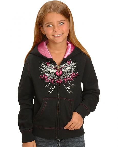 Girls' Cowgirl Hardware Horse and Wings Zip Sweatshirt - 5-16
