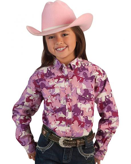 Cowgirl Hardware Pink Horse Camo Print Western Shirt - 5-16