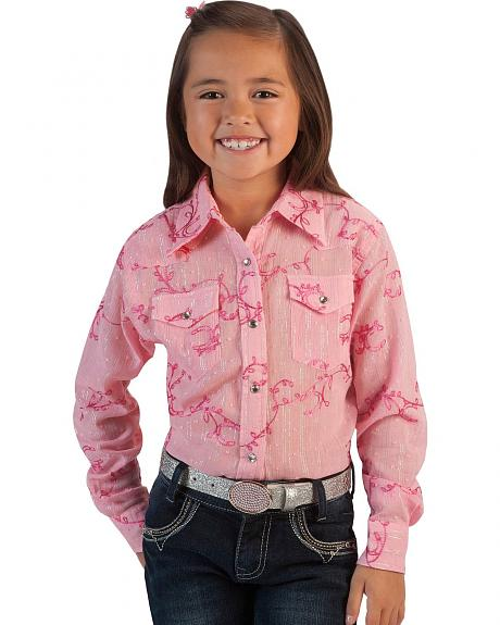 Cowgirl Hardware Girls' Swiss Dot Lurex Rhinestone Snap Western Shirt - 5-16