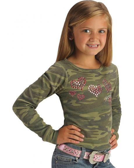 Cowgirl Hardware Horses and Hearts CamoThermal Tee - 5-16