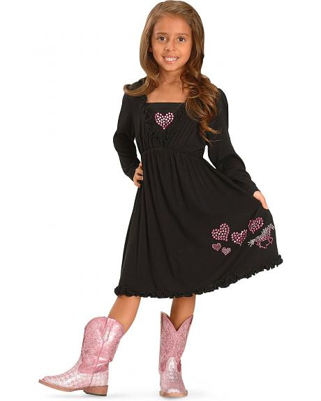 Cowgirl Hardware Girls' Horses and Hearts Ruffle Dress - 4-16