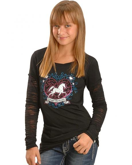 Cowgirl Hardware Hearts & Horse Burnout Sleeves Tee - 5-16