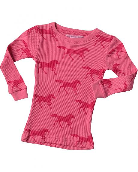 Cowgirl Hardware Pink Horse Thermal Tee - 2T-4T