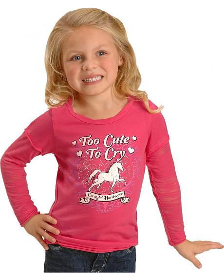 Cowgirl Hardware Toddler Girls' Too Cute To Cry Burnout Sleeves Tee - 2T-4T