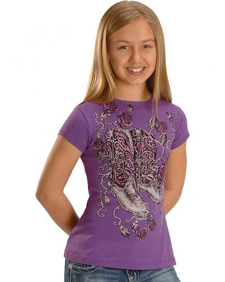 Girls' Embellished Boots & Roses Tee - 5-16