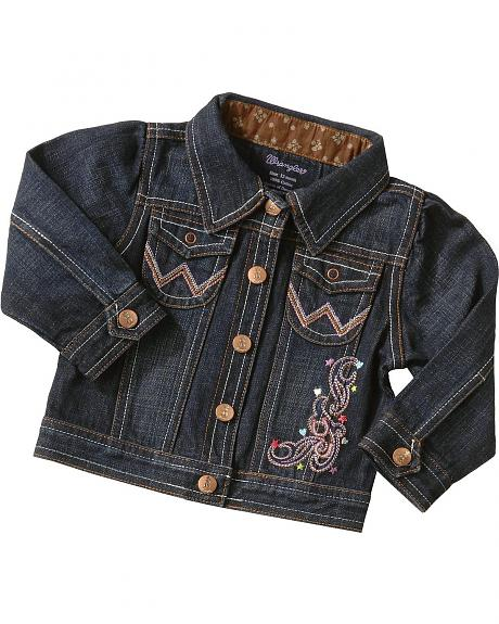 Wrangler Girls' Embroidered Denim Jean Jacket