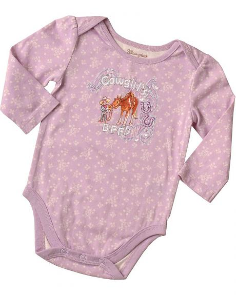Wrangler Infant Girls' Cowgirl's BFF Embroidered Bodysuit - 6M-18M