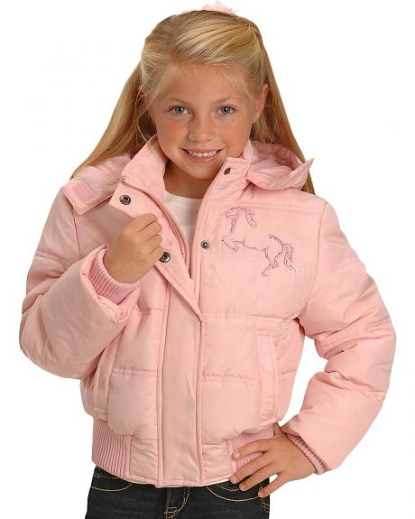 Red Ranch Girls' Pink Quilted Rhinestone Horse Coat - 5-16